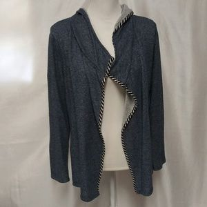 Cynthia Rowley Blue Open Front Hooded Cardigan